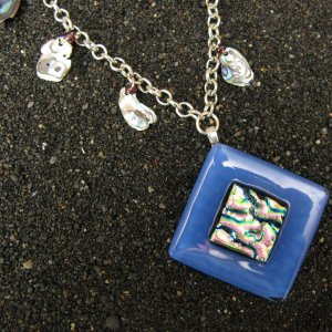 Abalone: Dichroic fused glass and abalone shell necklace (beaded by MyJewlery4u)