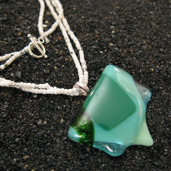 Uvarovite: Fused glass necklace, sterling silver bail