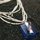 Tanzanite: Dichroic fused glass necklace