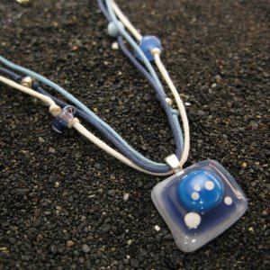 Dots: Fused glass necklace (beaded by MyJewlery4u), sterling silver bail
