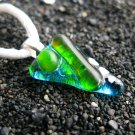 Spring: Fused glass necklace, sterling silver bail