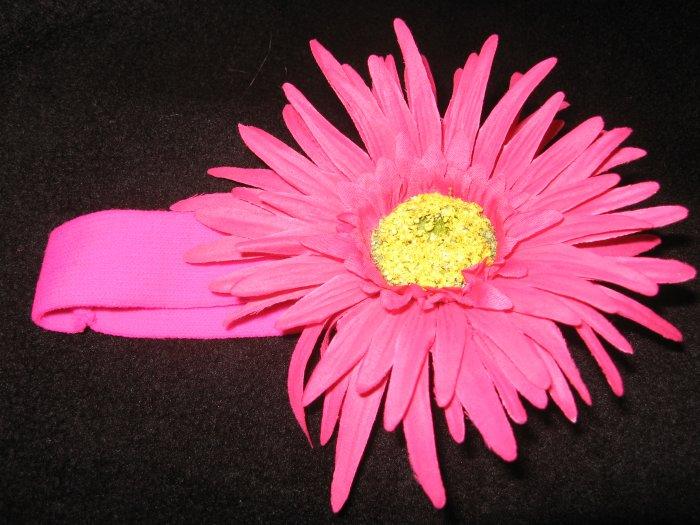 Large- New! Hot Pink Flower Headband
