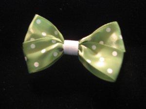 Green and White Polka Dot Bow FREE SHIPPING