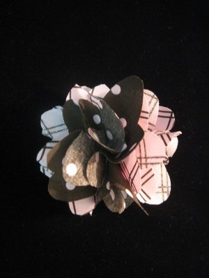 Brown and pink polka dotted/checkered Handmade Flower