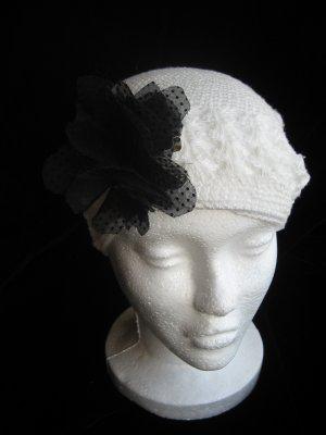 Off White Crochet Hat & Black Sheer Flower Set