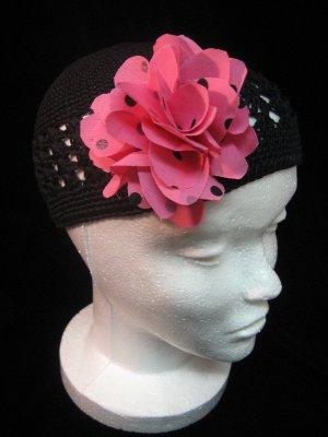 Black Crochet Hat & Pink Polka Dot Flower Set