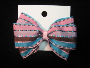 Cotton Candy and Brown Striped Hair bow