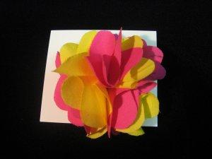 NEW! Pink and Yellow Handmade Flower