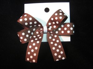 Brown and White Hairbow