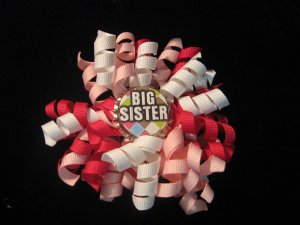 Pink and White Big Sister Korker Bottle Cap Bow