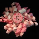 Custom Letter Pink Bottle Cap Bow