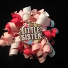 Pink and White Little Sister Mini Korker Bottle Cap Bow