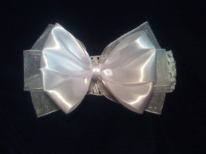 White Sheer and Satin Hair bow w/ Crochet Headband