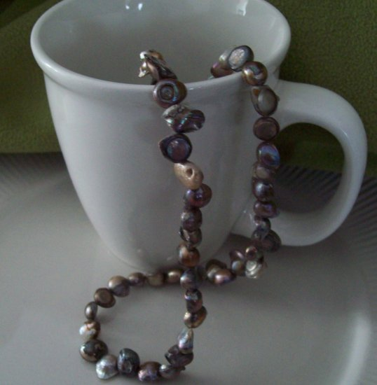 Freshwater Pearl Necklace (grey/silver)