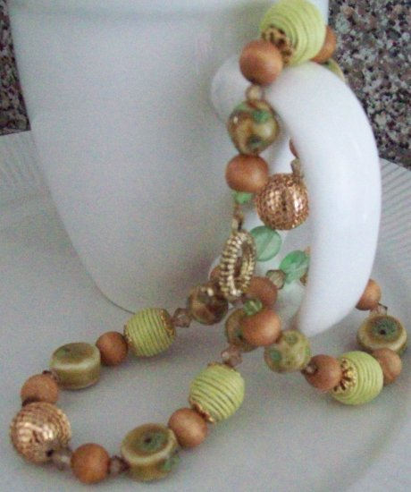 Ceramic woven and wood bead necklace