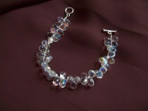 Crystal teardrop beaded bracelet with toggle clasp