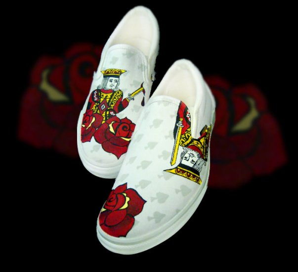 Custom Hand Painted Vans Shoes *Mens Sizes* /// Suicide Kings by Yourkicks.com