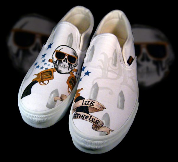 Custom Hand Painted Vans Shoes *Mens Sizes* /// Los Angeles Stars by Yourkicks.com