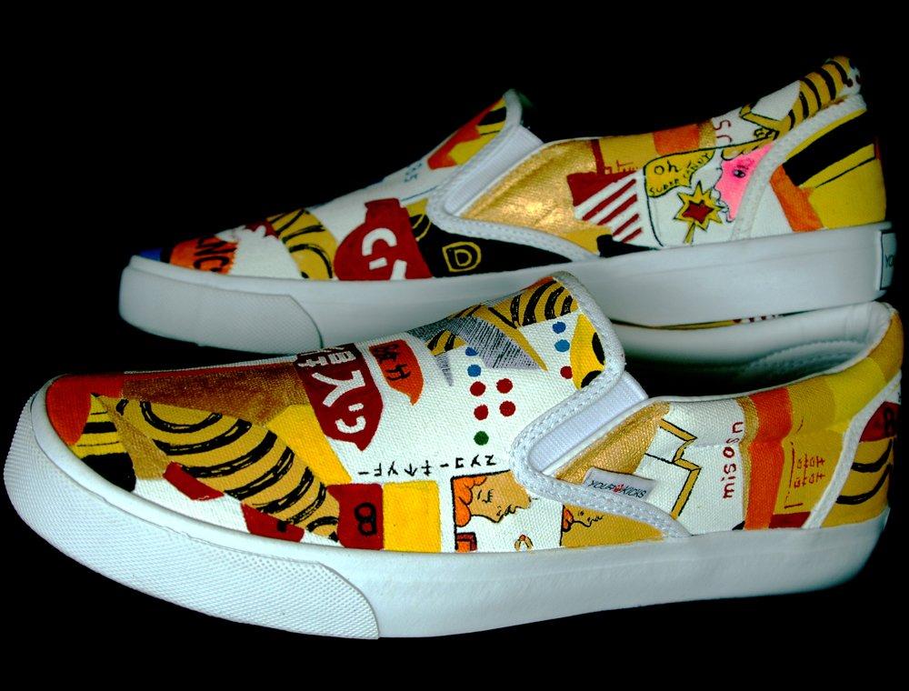 0cfa18a387 Hand Painted Shoes   Custom Vans Slip-ons Sneakers For Men -