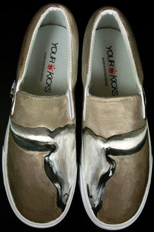 """Custom Sneaker Shoes Hand-Painted Vans Slip ons - """"The Longhorn"""""""