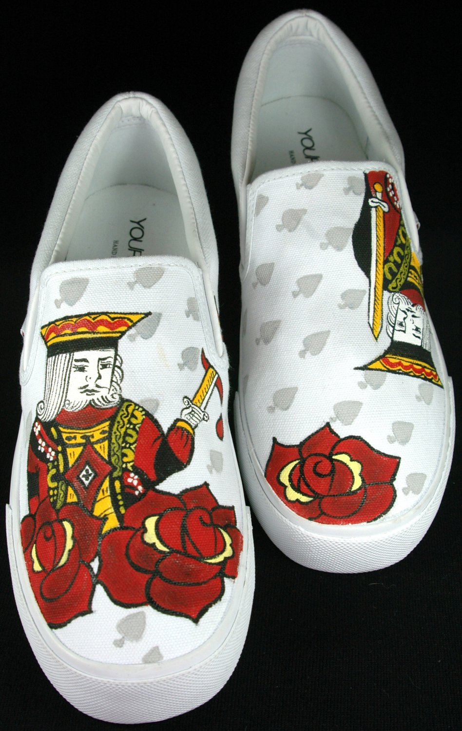 """Hand Painted Shoes : Custom Vans Slip-ons Sneakers For Men - """"The Victorious King"""""""