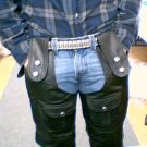 Black Leather Motorcycle Chaps, New Design, Size 3XL - Three Extra Large