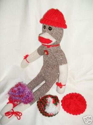 Red Knit Cap Hat for Sock Monkey or doll NEW Handmade