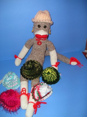 Pastel Peach knit Cap Hat Sock Monkey or doll Handmade NEW!