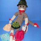 Green Camo Knit Hat Cap Sock Monkey or doll Handmade NEW!