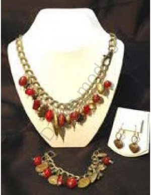 Red & Brass Bead Necklace with matching bracelet and earrings