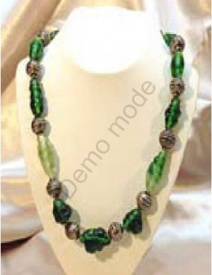 Green Necklace with Silver Beads