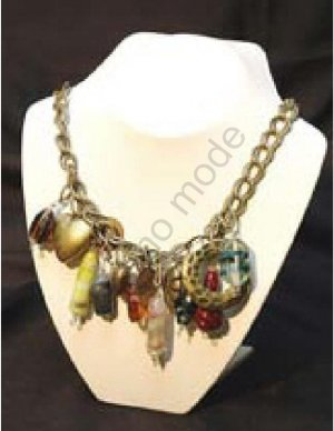 Multi-Colored Necklace with Brass Beads