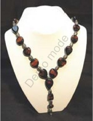 Brown and Black Necklace with Silver Beads