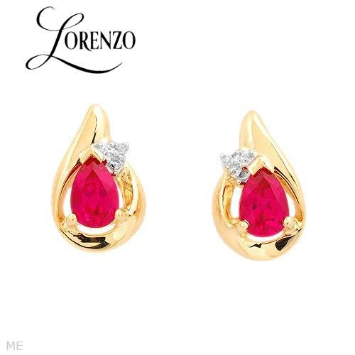 1.11 Diamond and Created Rubies Earrings