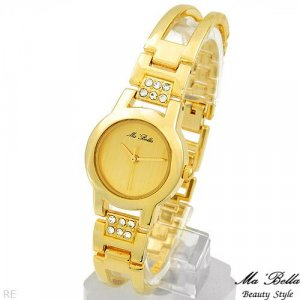 MA BELLA  Gold Tone Watch With Genuine Crystals