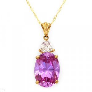 11.40ctw Cz Necklace in Solid Yellow Gold