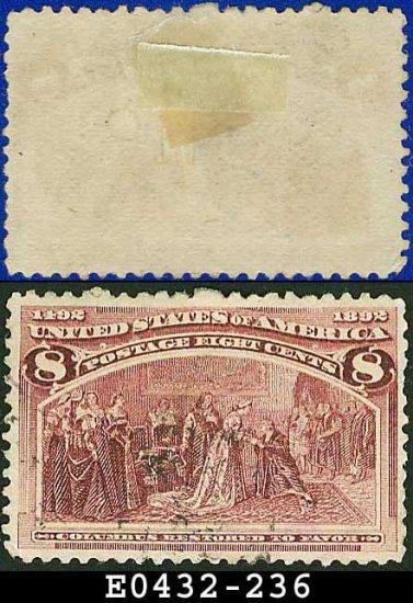 1893 USA USED Scott# 236 � 8c Columbus Restored to Favor