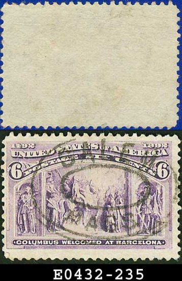 1893 USA USED Scott# 235 � 6c Columbus Welcomed at Barcelona