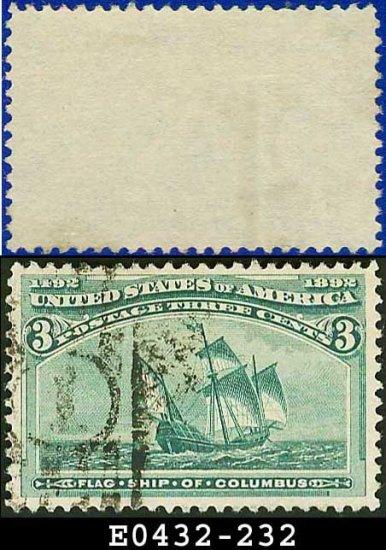1893 USA USED Scott# 232 � 3c Flagship of Columbus