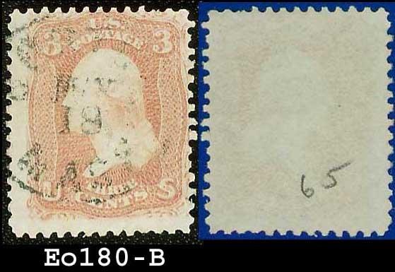 1861-62 USA USED Scott# 65 � Washington 3c Rose E0180