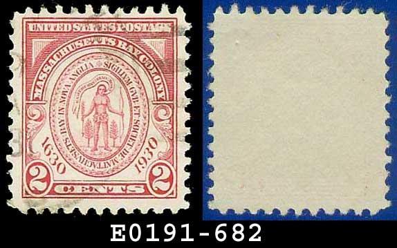 1930 USA USED Scott# 682 � 2c Seal of Massachusetts Bay Colony