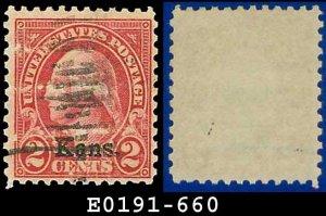 1929 USA USED Scott# 660 � 2c Kansas Overprint � Rotary Press Printing