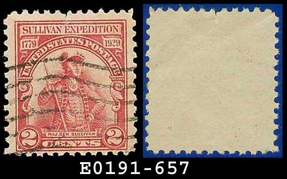 1929 USA USED Scott# 657 � 2c Major General Sullivan � Flat Plate Single