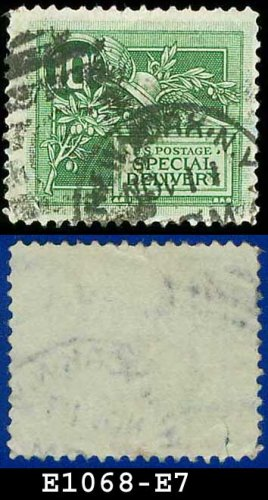 1908 USA USED Scott# E7 � 10c Helmet of Mercury  � Special Delivery Stamps