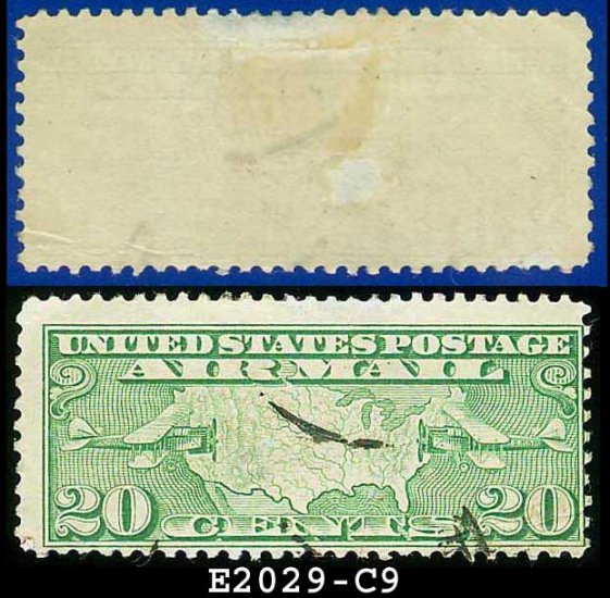 1926-27 USA USED Scott# C9 � 20c US Map and Mail Planes � Air Mail Stamp