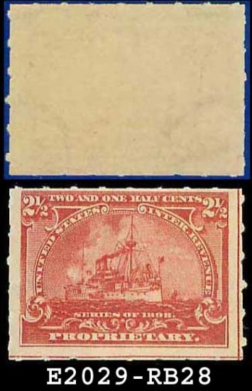 1898 USA UNUSED Scott# RB28 � 2 1/2c Battleship Proprietary  � Documentary Stamps