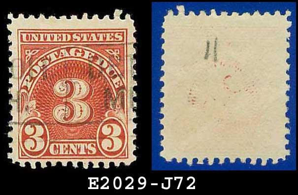 1930-31 USA USED Scott# J72 � 3c Carmine � Postage Due Stamps
