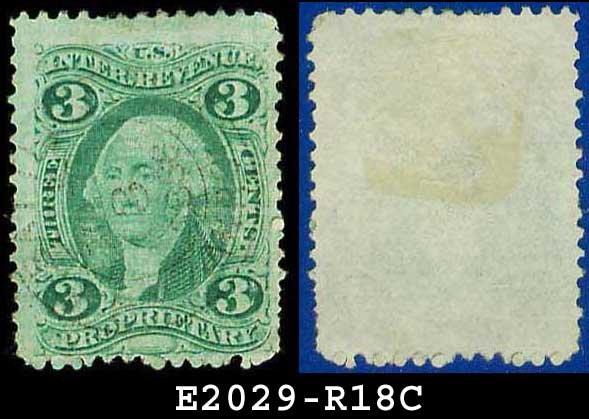 USA USED Scott# R18C � 3c Proprietary � Internal Revenue Stamps