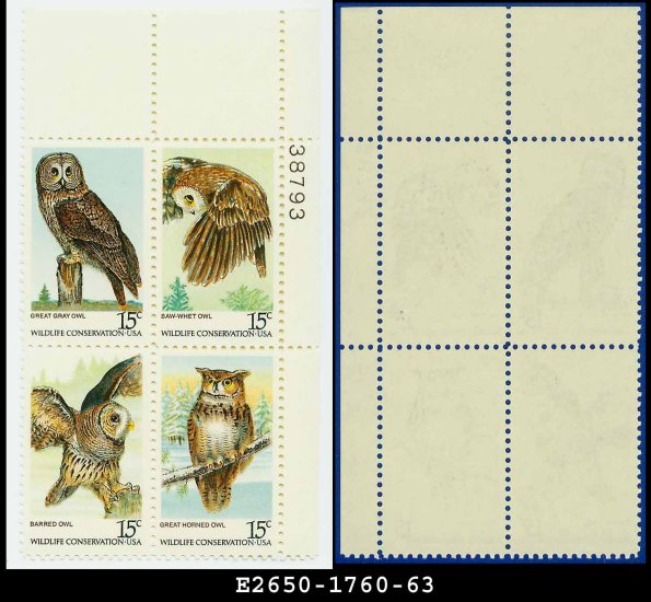 1979 USA MNH Sc# 1760-63 Plate# Block of Four � 15c American Owls - 1979 Commemoratives