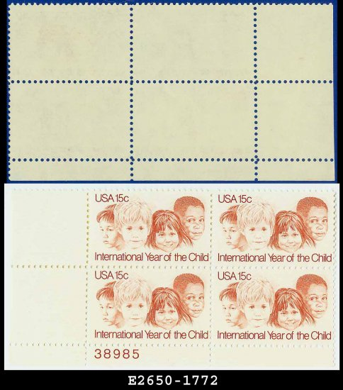 1979 USA MNH Sc# 1772 Plate# Blk of 4 � 15c Children of Different Races � Year of the Child